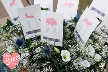 Table Plan Cards in Flower Arrangement