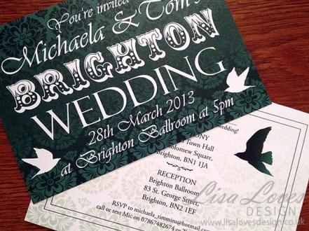 Vintage Brighton Wedding Invitation
